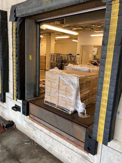 Masks at the West 5th Campus loading dock awaiting shipment to Uganda